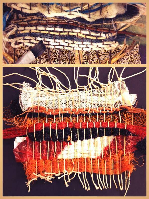yr9 #weaving starts to generate results! Taking found objects from a #walk. Which is #warp, which is #weft? http://t.co/iBRkJyMPTf