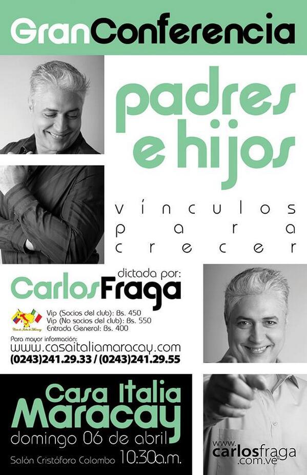 @fragacarlos este dom 06 abr @casaitaliamcy conferencia PADRES E HIJOS VINCULOS PARA CRECER entradas a la venta ya http://t.co/KePreW8XX8