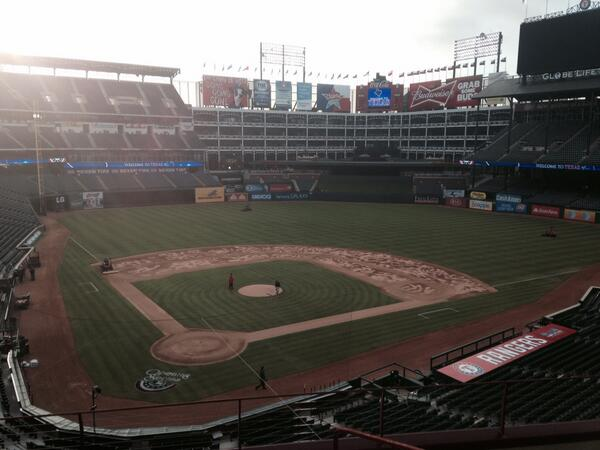 Early-morning sun breaks through at #Rangers Opening Day. #under5hours http://t.co/AWRES5ygdE