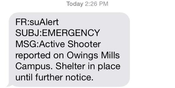 #BREAKING: Active Shooter Reported on Stevenson U Campus; Students Shelter in Place: http://t.co/MUbjU1zqSv http://t.co/BnuQ3rtj0Z