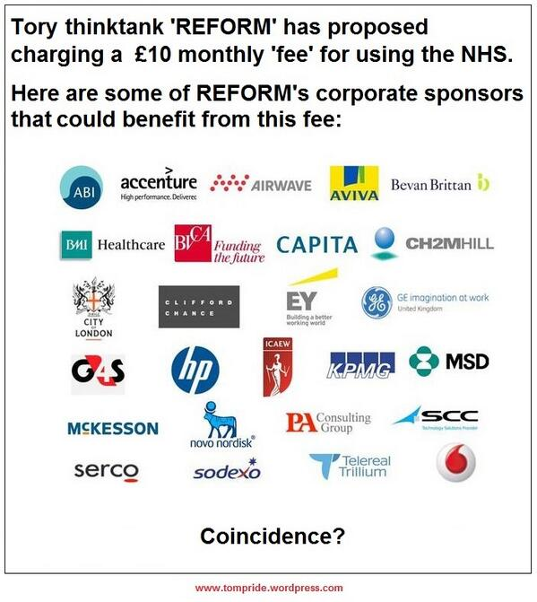 Who funds the thinktank calling for NHS charges? Guess. RT @ThomasPride http://t.co/YrRhrdjP1Z http://t.co/7cgl0t2GKU http://t.co/QZGGOL4adF