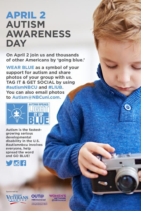 Dont forget to wear blue on Wednesday for World Autism Awareness Day!  #autismNBCU & #LIUB @autismspeaks http://t.co/MSQKSn7MmH