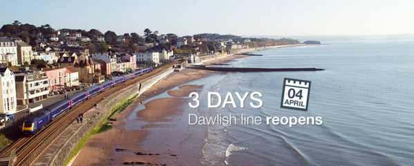 3 days until the Dawlish line reopens! http://t.co/zMZ6AT5aMP