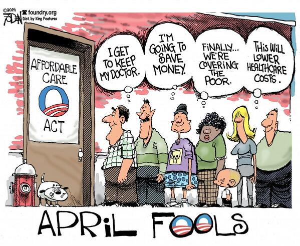This #AprilFoolsDay, unfortunately the joke is on us. #Obamacare RT @Heritage http://t.co/RxtdJftMLK