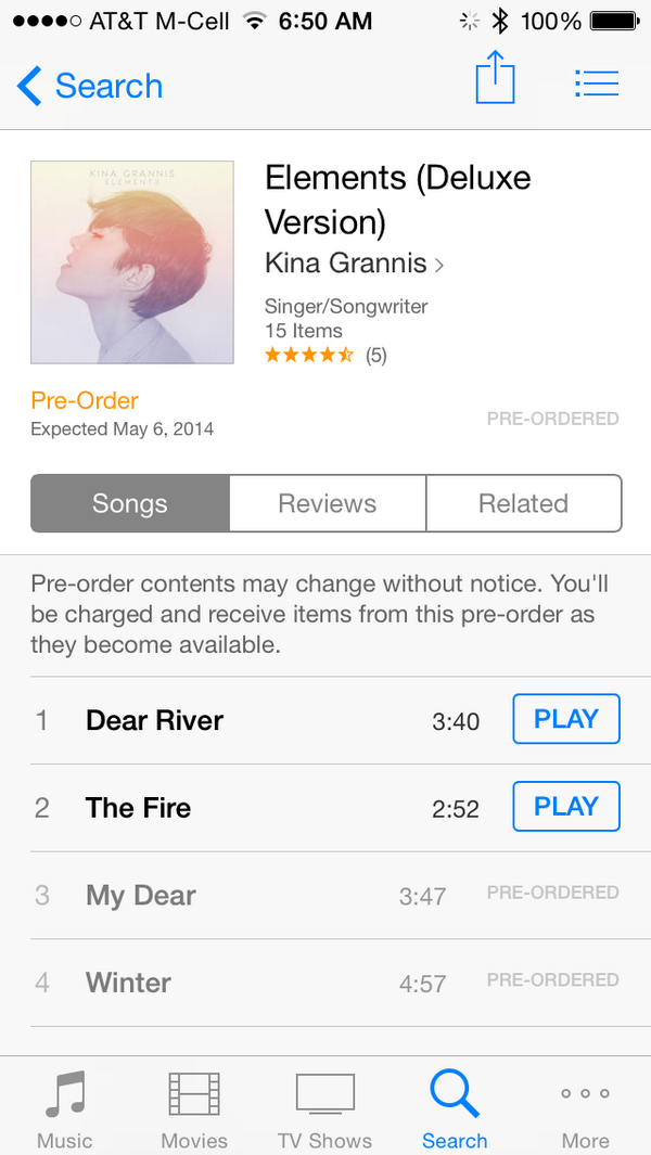 "Preorder the new @kinagrannis album ""Elements"" on iTunes today. You deserve something awesome. http://t.co/7zX7903Z8E"