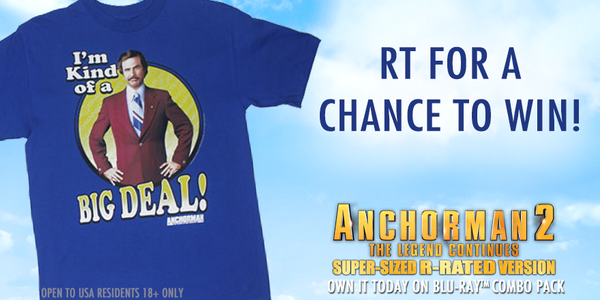 Keep the RTs coming! RT this post for an extra entry into winning this #Anchorman2 shirt from @Walmart! http://t.co/pPXynhmB2l