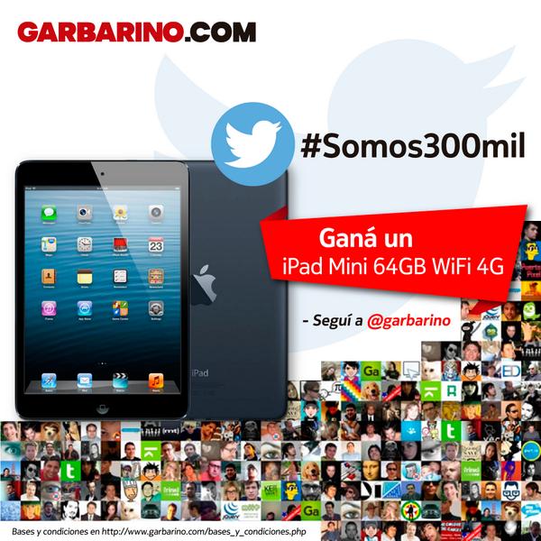 #Somos300Mil y queremos festejarlo con vos! Hacé RT o utilizá el HT y participá por un increíble iPad Mini 64GB!!!!! http://t.co/Gb7hELnQgR