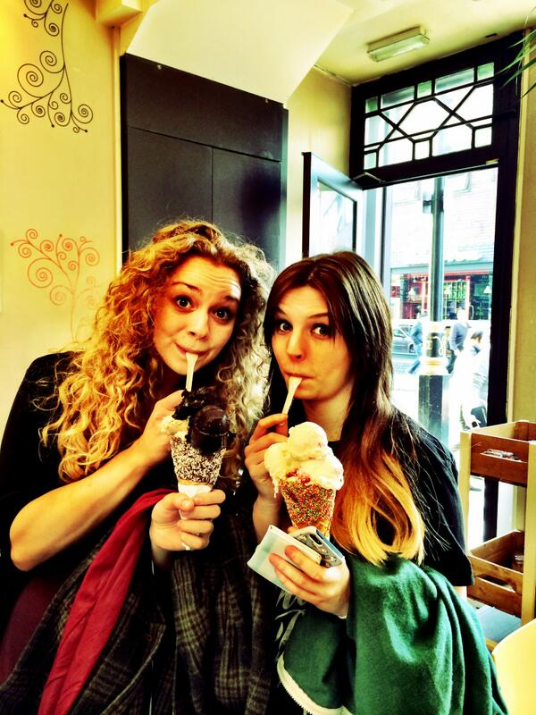 Look who popped in for ice cream!  (Spoiler: it's @emmablackery and @CarrieHFletcher...) http://t.co/twCVaB35Tj