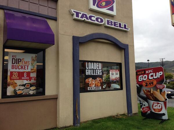 The signage on a KFC/Taco Bell is indistinguishable from Idiocracy. http://t.co/BZoc0RzQ72