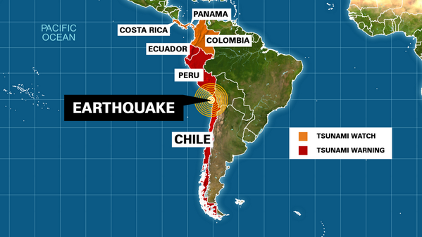 An 8.0 magnitude earthquake hit Chile. Tsunami warning issued for Chile, Peru, and Ecuador. Let's pray for them 🙏: http://t.co/ty1e1J0bnG