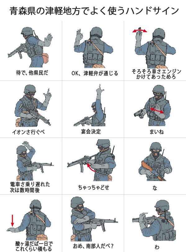 暇で作った「青森県の津軽地方でよく使うハンドサイン」コラ画像。 脚色してる部分もあるけど。 http://t.co/F7fnSND959