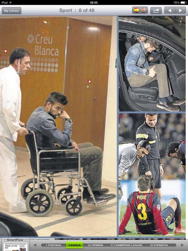 BkMtDOIIYAAlFSv Barcelonas Gerard Pique left the Camp Nou in a wheelchair after cracking his pelvis v Atletico Madrid [Picture]