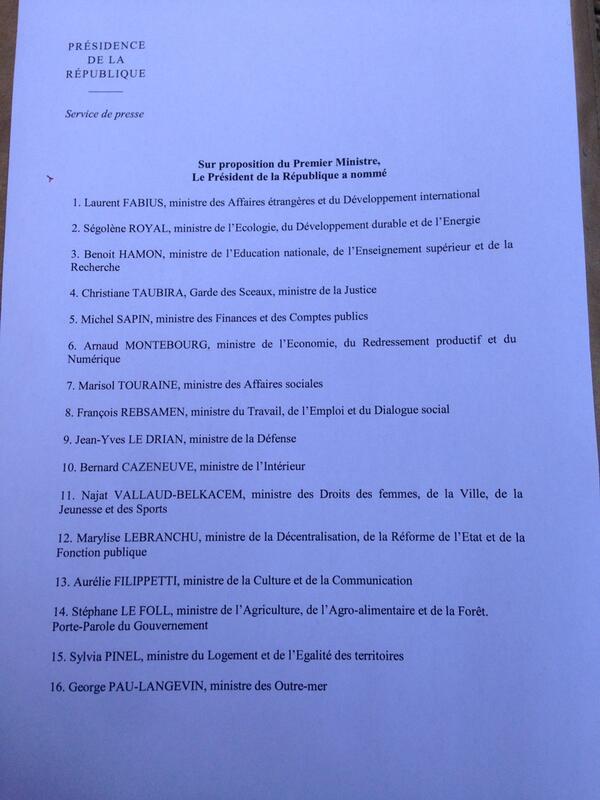 La liste des ministres du gouvernement #Valls, les secrétaires d'Etat nommés la semaine prochaine #remaniement http://t.co/FxG25gR1bc