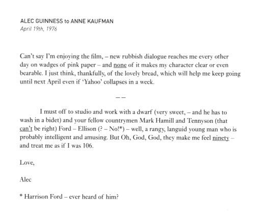 Alec Guinness, born 100 years ago today, writes to a friend as he begrudgingly prepares to shoot Star Wars: http://t.co/jZDPDLAzxt