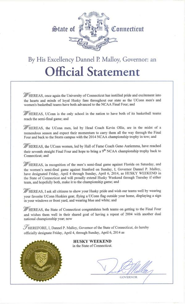 "Gov. Malloy has proclaimed this weekend as ""Husky Weekend"" in the State of #CT. @UConnHuskies #BleedBlue @UConn http://t.co/Wl8J11HG5e"