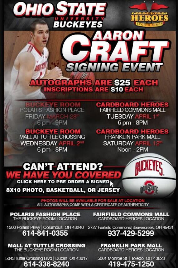RETWEET to enter to win a signed Aaron Craft 8x10!   **you must follow us and RT this to enter** http://t.co/OepN9hDYTi