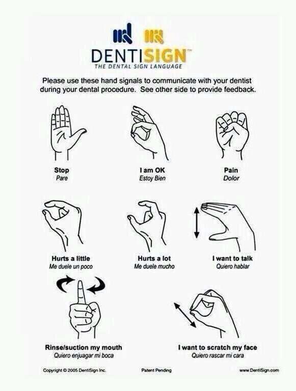 أشارات عالمية للتواصل مع دكتور الاسنان  عندما لا تستطيع ان تتحدث اليه ✅ http://t.co/CPpX3eEBQQ