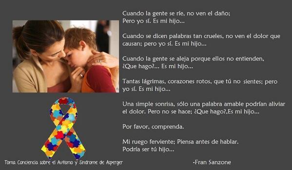 """""""@javo_chavez: Soy padre de una niña Asperger y estas son realidades muy dolorosas, lean y si pueden RT por favor http://t.co/yw5Y3kq4WN"""""""