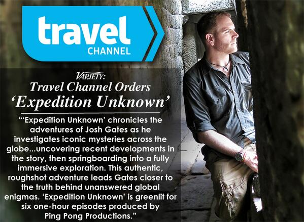 "GREAT NEWS! Josh will be featured in new @travelchannel series ""Expedition Unknown""! More here:  https://t.co/lWl6PlCRdW @joshuagates"