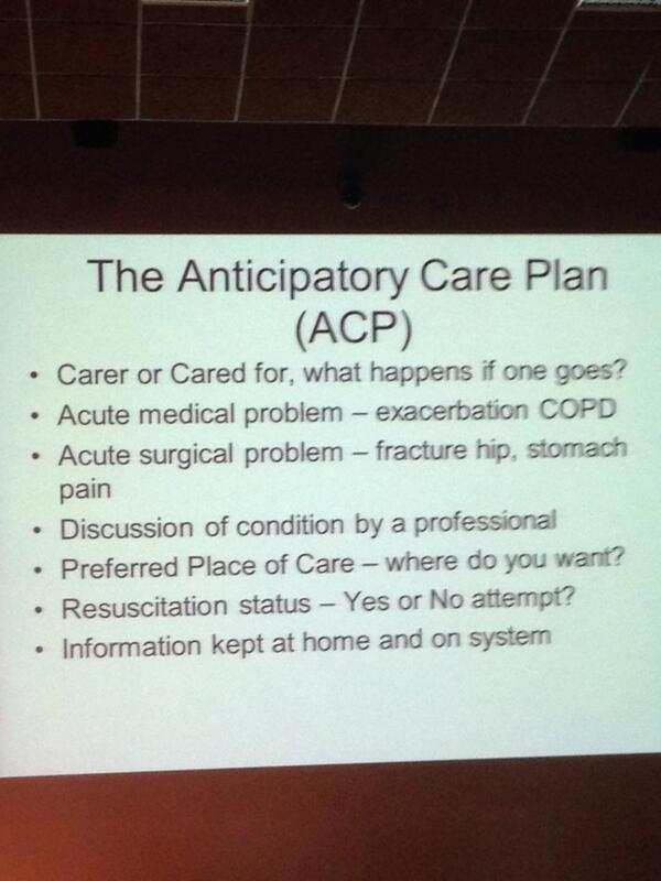 RT @Trisha_the_doc: Getting advice on making Anticipatory Care Plans now.  #rcpeElderly14 http://t.co/v4CxoX23U4