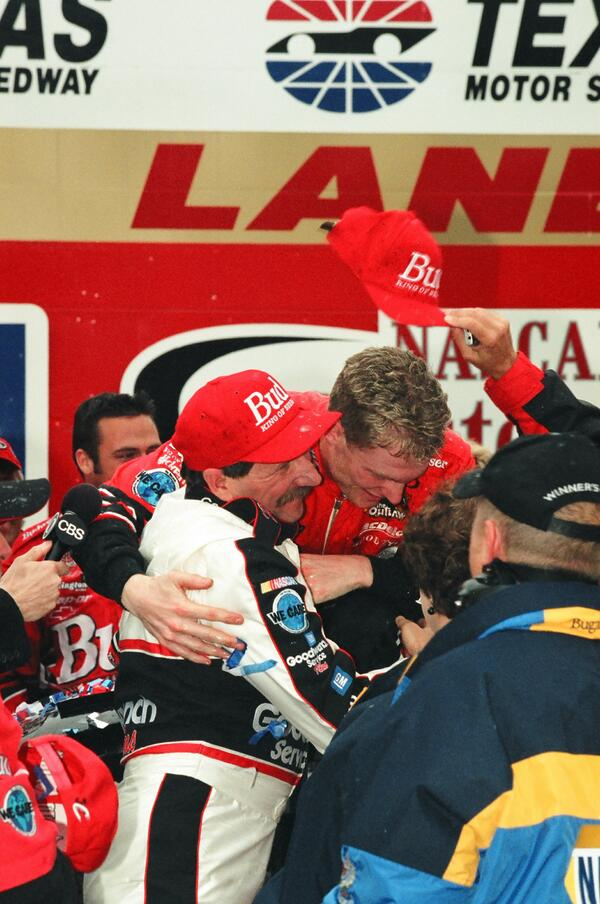 Dale congratulates @DaleJr @TXMotorSpeedway after his 1st career Cup victory. #TBT #throwbackthursday http://t.co/YzGCQl9vhp