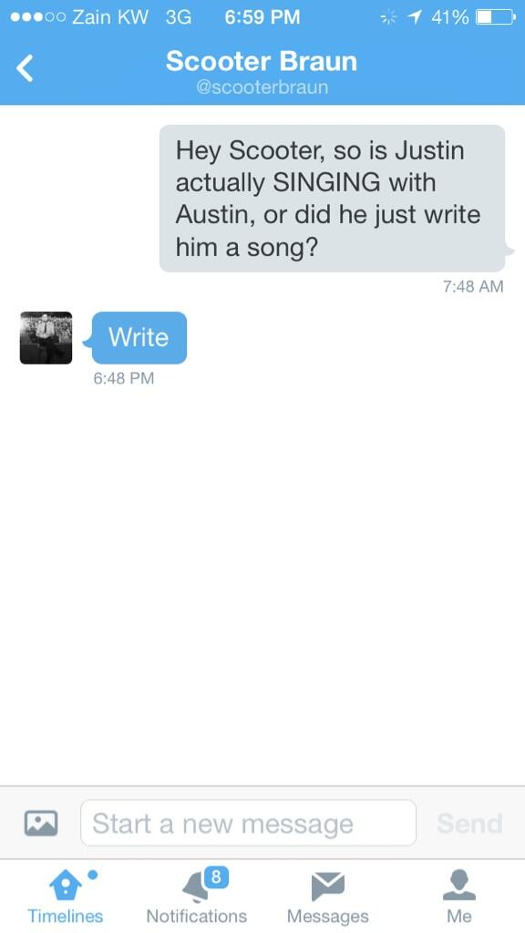 Just to clear things up, Justin only WROTE a song for Austin, they never sang together. Scooter confirmed it: http://t.co/RNcLjZYkLg