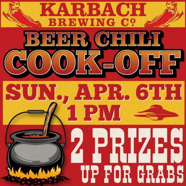 4th Annual Saucer Beer Chili Cook-off this Sunday at 1pm. Sponsored by @karbachbrewing http://t.co/q0BhnEOPyl