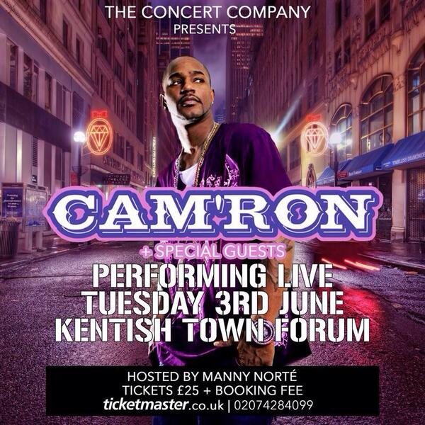Yep, it's true @Mr_Camron's coming to the UK to do an EXCLUSIVE one night show! Tickets available 9am, Ticketmaster