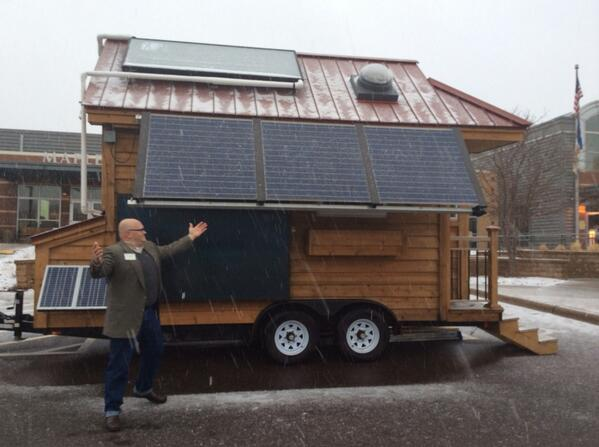 Dustin @aeimn showing off the awesome @mnrenewables Tiny House powered w solar #AprilBlizzard #Sprinter http://t.co/P0qf3pEMV8