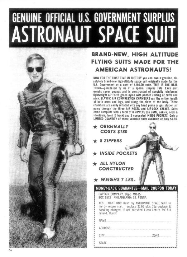 Get your own official U.S. government surplus astronaut space suit! http://t.co/MLFlcOxcc5