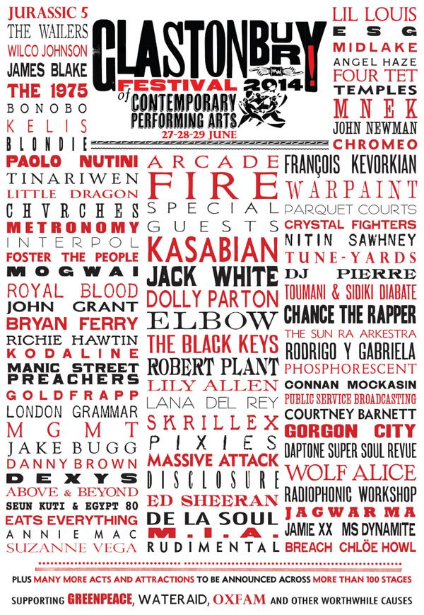 We're very pleased to present the Glastonbury 2014 line-up so far… http://t.co/WrtSy6d8Jt