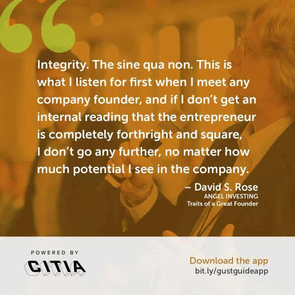 "Founders, take note: ""Integrity is the sine qua non"" for investors #startupfunding #gustguide http://t.co/0hUVnULKvW http://t.co/I7kU9P7bEH"