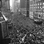 RT @HistoryInPics: May 8th, 1945: Two million people gathered in Times Square to celebrate the end of World War II.