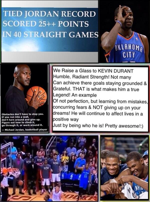 SO proud of @KDTrey5 matching @Jumpman23 25+ pts 40 gms in a row! @okcthunder @nba now MJ do u have a new quote 4 KD? http://t.co/WiQgjlJsVH