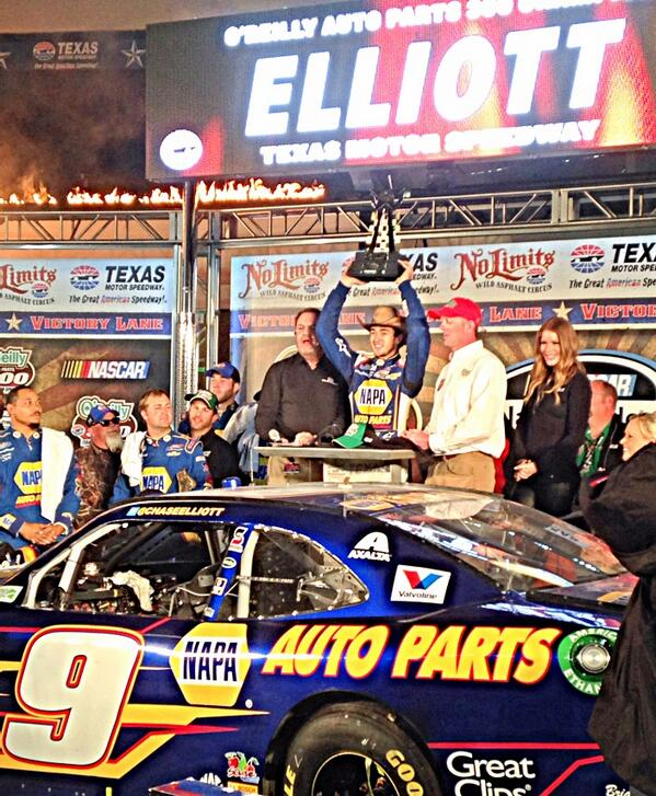With the trophy... and hat! @chaseelliott @TXMotorSpeedway #AskMRN http://t.co/ssZm7mX9Wy