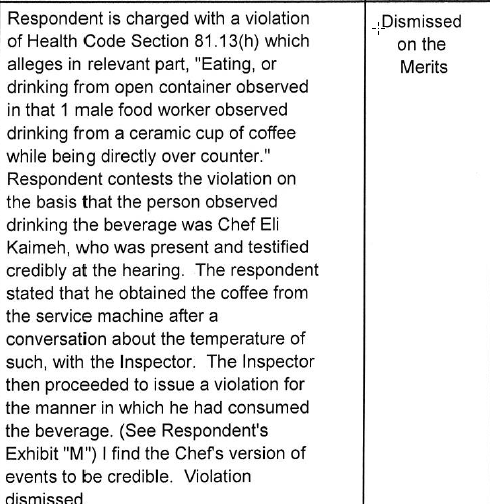 Read this dismissed charge against Per Se b/c it's pretty much PROOF that the DOH is out to get your restaurant: http://t.co/4Dsz5GS6wD