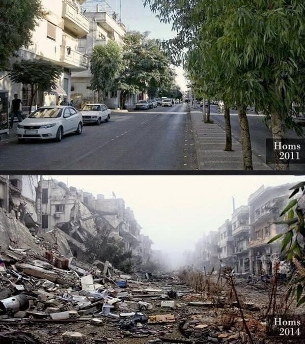 Same street in Homs, Syria, in 2011 and in 2014 http://t.co/WQeMsILl9c