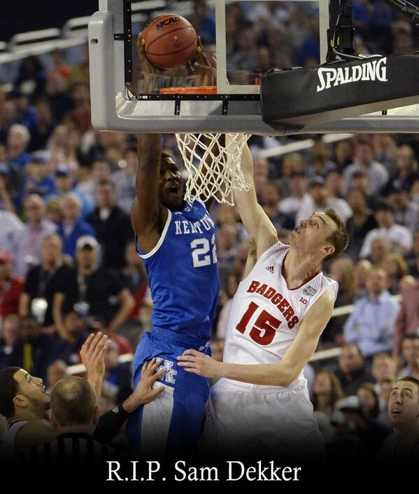 Thoughts and prayers go out to the family of Sam Dekker, who was tragically murdered by @AlexTheGreat22 at the rim. http://t.co/6OFQ3w7PQh