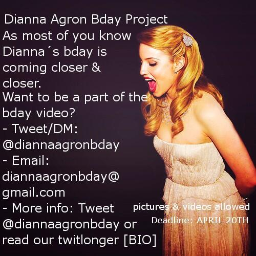 Dianna Agron Bday Project! Deadline: April 20th, picture or video allowed! http://t.co/iD5IocQ3aU