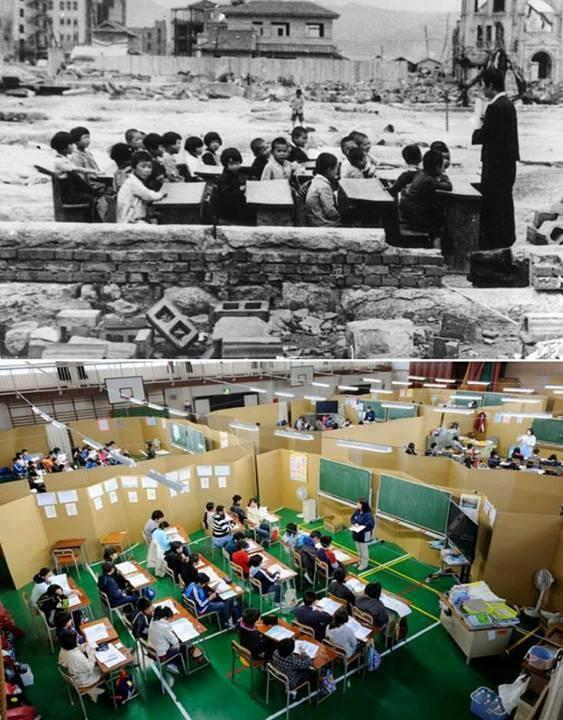 Japan. Top: One Month After Hiroshima, 1945. Bottom: One Month After The Earthquake and Tsunami, 2011. Incredible. http://t.co/hq2AG5QCUf