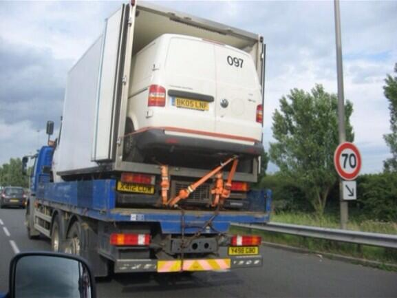 Saw this is France. A van inside a van on a truck... http://t.co/8NplbblQmD