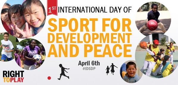Happy 1st Int'l Day of Sport for Development and Peace! Together,  we can change the world thru sport & play. #IDSDP http://t.co/oJCU5dIhlE