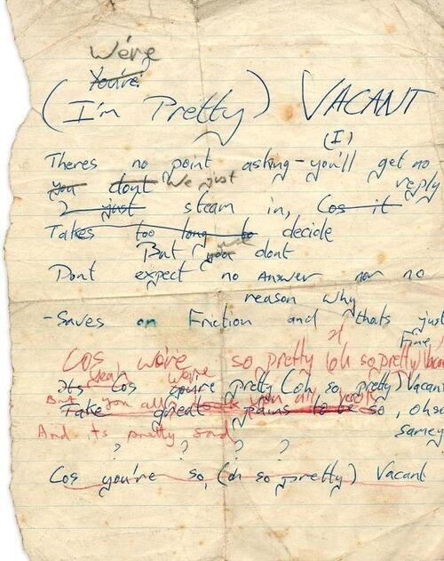 Johnny Rotten & Glen Matlock handwritten lyrics for 'Pretty Vacant', ca 1977. http://t.co/aYHJPildj6