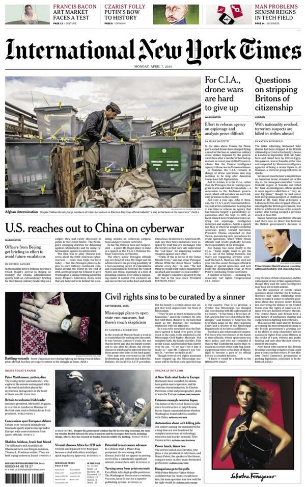 "Monday's International New York Times: ""US reaches out to China on Cyberwar"" #BBCPapers http://t.co/Srf7BJV80q via @hendopolis"