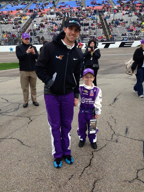 Aiden and @dennyhamlin on Pit Road. @FedEx @JoeGibbsRacing http://t.co/5FTaMsdsTR