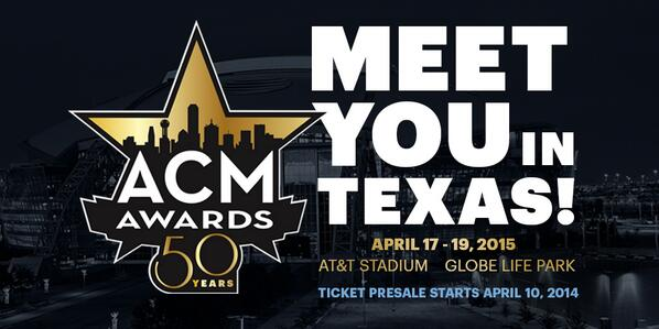 ACM Awards 2015!!! We'll meet YOU in TEXAS!!!!!  #ACMawardstoTEXAS #ACM50 http://t.co/YhbXkcPVgl