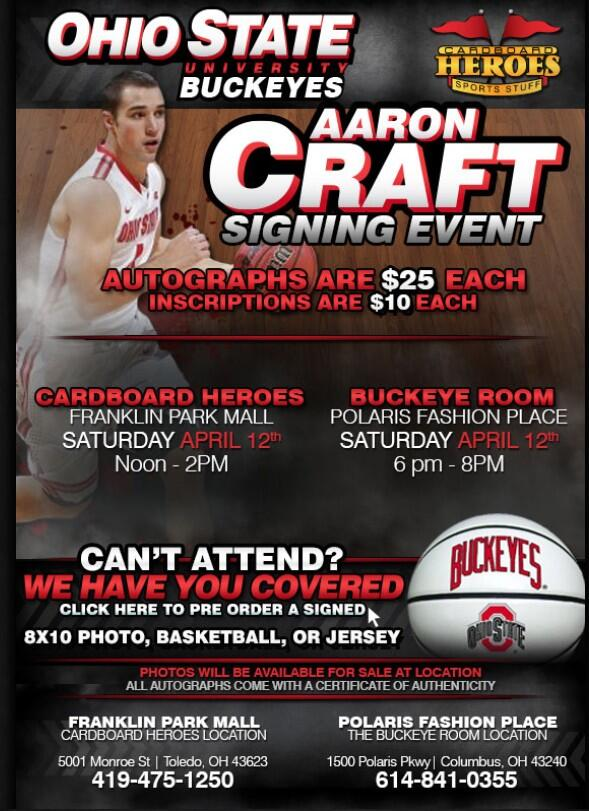 There are still two more opportunities to see @ACraft4OSU this week! See him at @PolarisFashion & @CHeroes_Toledo! http://t.co/lkcIpPpRHQ