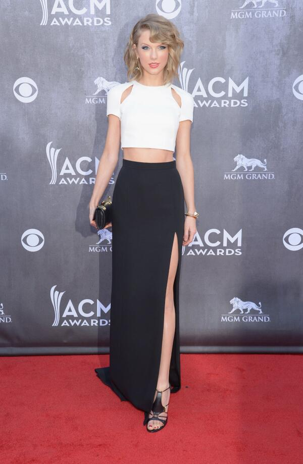 Taylor Swift wearing custom J. Mendel to the 49th Annual Academy of Country Music Awards. #ACMAwards http://t.co/Uuh5OFTd3o