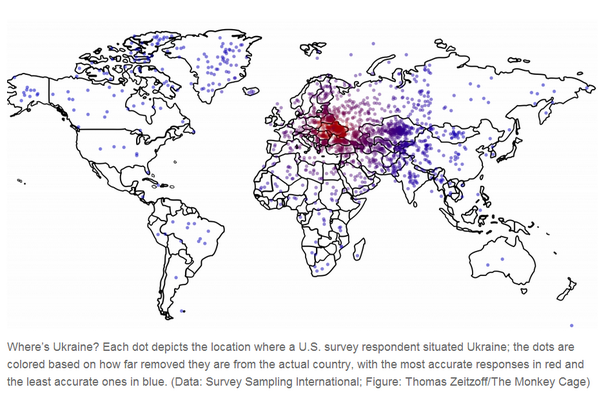 Conrad Hackett (@conradhackett): Each dot represents a US adult's guess about the location of Ukraine  http://t.co/9eqXRZ1JuB http://t.co/gPeSgRsOBw