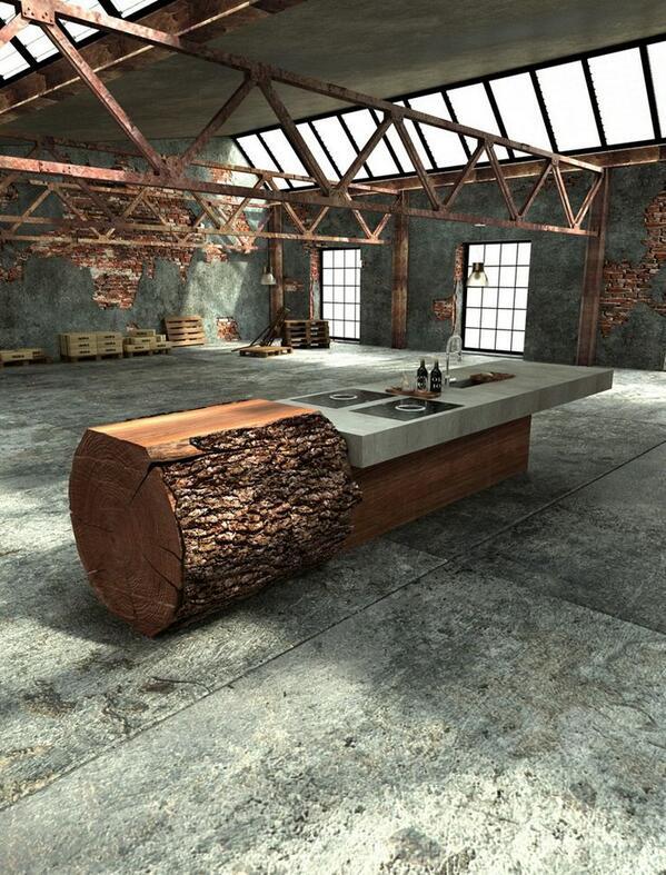 Oak tree trunk and concrete kitchen by Werkhaus http://t.co/fDU6QYr9y3
